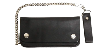 6 inch Black Leather Chain Wallet - Bifold - SKU LL-AC50-DL