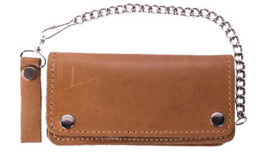 Heavy Duty Tan Leather Chain Wallet - SKU LL-AC51-11TAN-DL