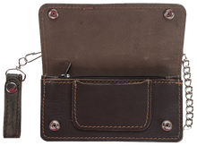 Bifold Distressed Brown Leather Chain Wallet - SKU LL-AC51-12-DL