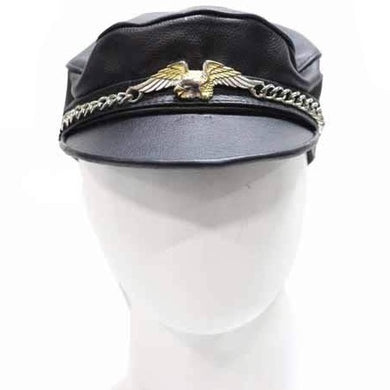 Leather Cap Hat with Chain and Eagle - SKU LL-AC96-DL - Leather Lollipop