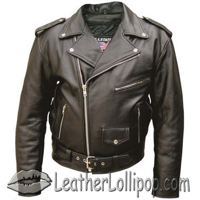 Mens Classic Style Bikers Motorcycle Jacket - Sizes 28 - 68 - SKU LL-AL2001-AL