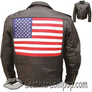Mens Leather Biker Jacket with American Flag on Back - SKU LL-AL2018-AL - Leather Lollipop