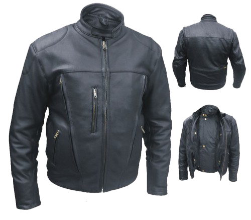 Mens Euro Racer Biker Naked Leather Jacket With Vents - SKU LL-AL2044-AL