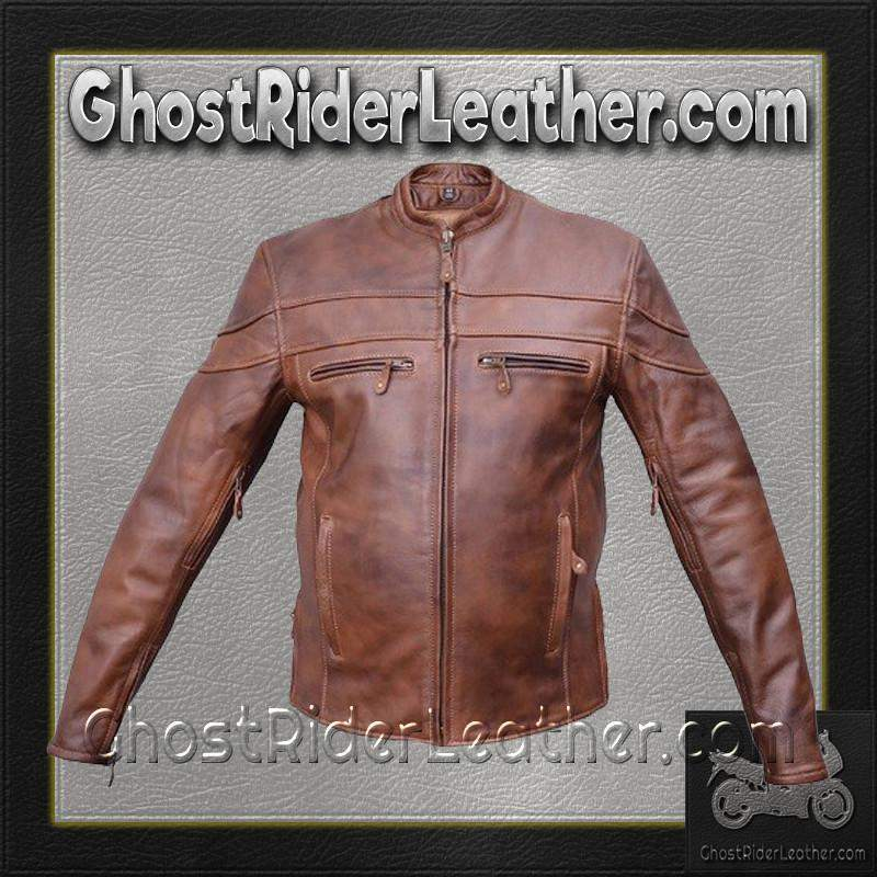 Mens Cafe Brown Touring Motorcycle Leather Jacket / SKU GRL-AL2077-AL