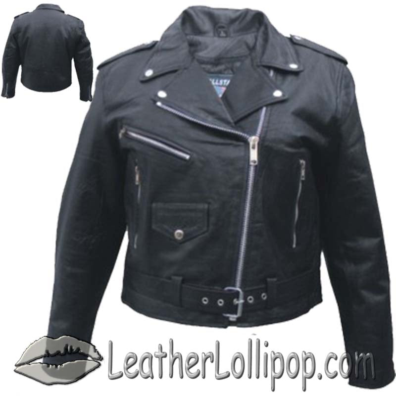 Ladies Classic Biker Leather Jacket Light Weight - SKU LL-AL2100-LIGHT-AL