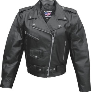 Ladies Classic Biker Leather Jacket Split Cowhide - SKU LL-AL2101-AL