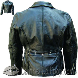 Ladies Biker Premium Leather Jacket With Braid Trim - SKU LL-AL2103-AL