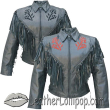 Ladies Red or Black Rose Fringe Leather Jacket - SKU LL-AL2105-2106-AL