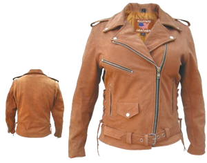 Ladies Classic Biker Brown Leather Jacket - SKU LL-AL2115-AL