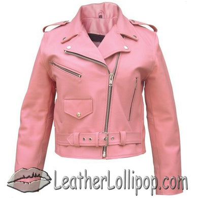 Ladies Classic Biker Pink Leather Jacket - SKU LL-AL2120-AL - Leather Lollipop