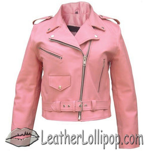 Ladies Classic Biker Pink Leather Jacket - SKU LL-AL2120-AL