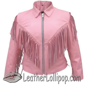 Ladies Biker Pink Leather Jacket with Fringe - SKU LL-AL2121-AL