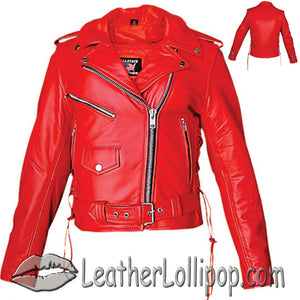 Ladies Classic Biker Red Leather Jacket - SKU LL-AL2122-AL - Leather Lollipop
