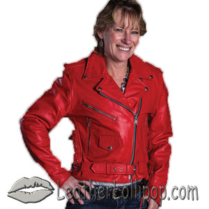 Ladies Classic Biker Red Leather Jacket - SKU LL-AL2122-AL