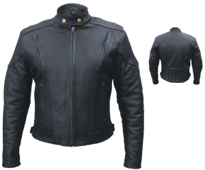 Ladies Euro Racer Biker Leather Jacket With Vents - SKU LL-AL2145-AL