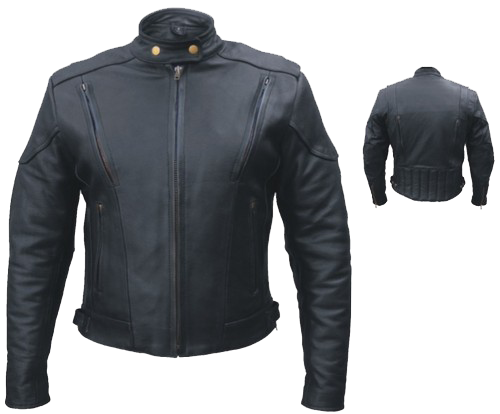 Ladies Euro Racer Biker Leather Jacket With Vents - SKU LL-AL2145-AL - Leather Lollipop