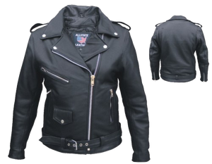 Ladies Classic Biker Full Cut Leather Jacket in Naked Leather - SKU LL-AL2146-AL