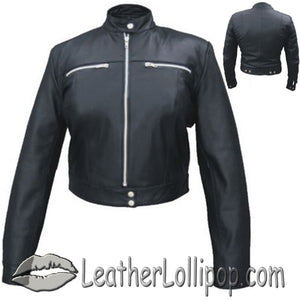 Ladies Racer Biker Leather Riding Jacket - SKU LL-AL2181-AL