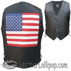 American USA Flag Leather Biker Vest with Side Laces - SKU LL-AL2218-AL - Leather Lollipop