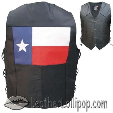Texas Flag Leather Biker Motorcycle Vest with Side Laces - SKU LL-AL2219-AL
