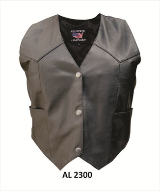 Classic Style Ladies Leather Vest with Snap Front Closure - SKU LL-AL2300-AL - Leather Lollipop