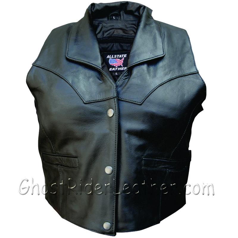 Ladies Leather Vest with Collar and Side Buckles - SKU GRL-AL2305-AL