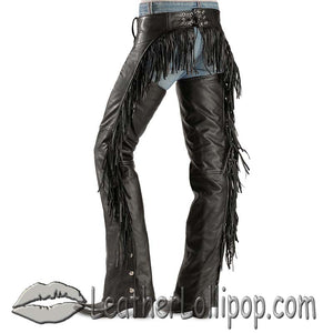 Ladies Leather Chaps with Booty Fringe - Tassels - SKU LL-AL2407-AL