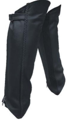 Unisex Black Leather Leggings With Spandex and Braid - SKU LL-AL2481-AL - Leather Lollipop