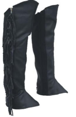 Unisex Black Leather Leggings With Fringe - Tassles - SKU LL-AL2482-AL - Leather Lollipop