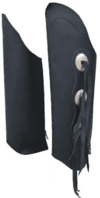 Men's Black Leather Leggings With Conchos and Tassles - SKU LL-AL2485-AL - Leather Lollipop
