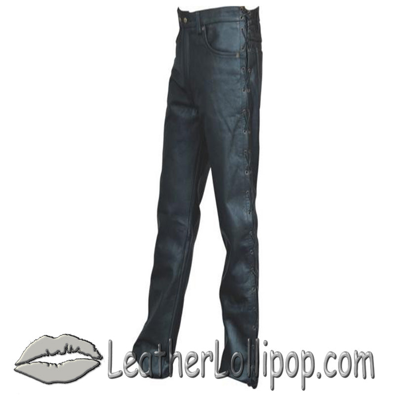 Mens 5 Pocket Leather Pants with Side Laces - SKU LL-AL2502-AL