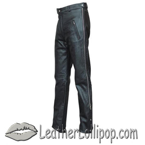Mens Leather Chap Pants with Zipper Pockets - SKU LL-AL2510-AL