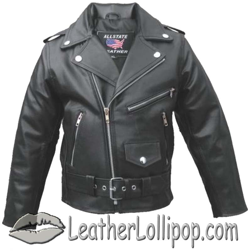 Childs Moto Jacket - Kids Classic Biker Leather Motorcycle Jacket - SKU LL-AL2801-AL