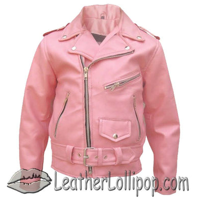 Girls - Pink Moto Jacket - Kids Classic Biker Pink Leather Motorcycle Jacket - SKU LL-AL2803-AL