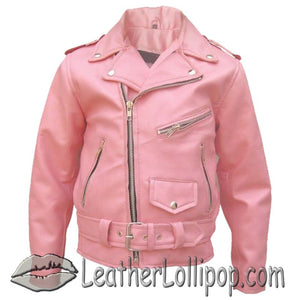 Girls - Pink Moto Jacket - Kids Classic Biker Pink Leather Motorcycle Jacket - SKU LL-AL2803-AL - Leather Lollipop
