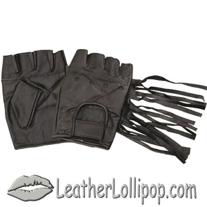 Fingerless Leather Gloves With Fringe - Tassels - SKU LL-AL3004-AL