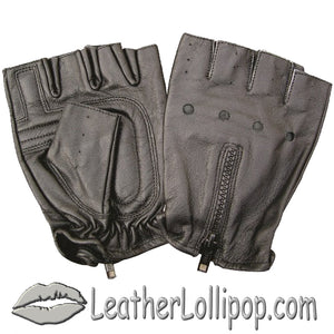 Fingerless Leather Biker Gloves With Zipper Back - SKU LL-AL3006-AL