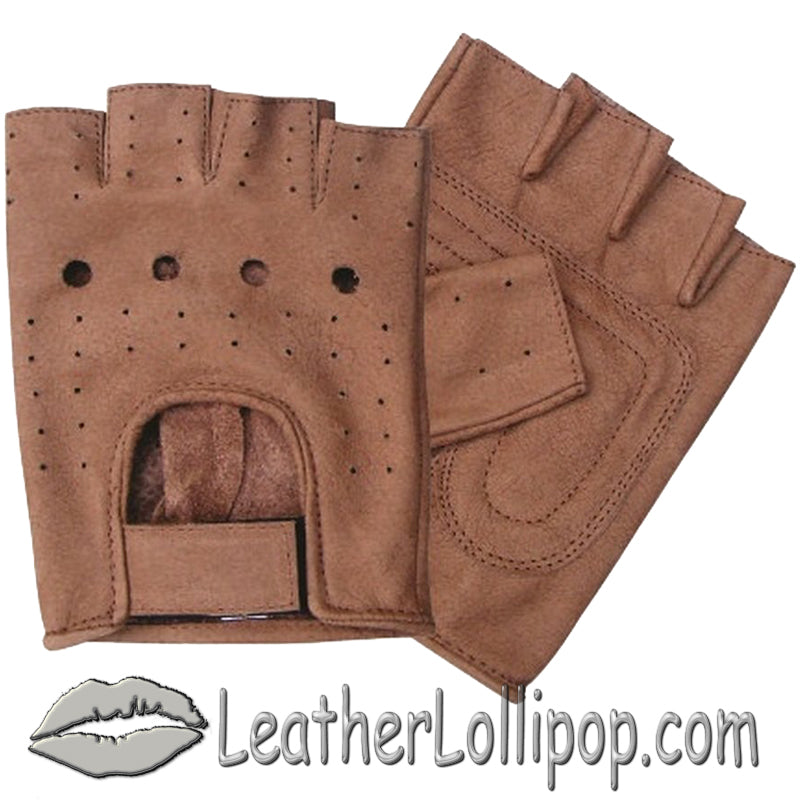 Brown Leather Fingerless Motorcycle Rider Gloves - SKU LL-AL3010-AL