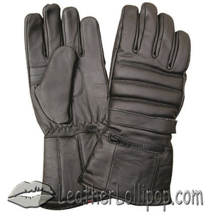Full Finger Leather Riding Gloves with Rain Cover and Zipper Pocket - SKU LL-AL3051-AL