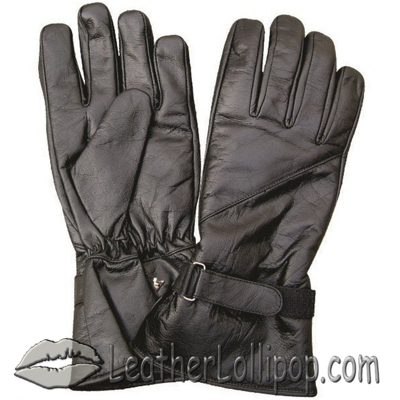 Lined Leather Riding Gloves with Velcro Tab  - Gauntlet Style - SKU LL-AL3062-AL
