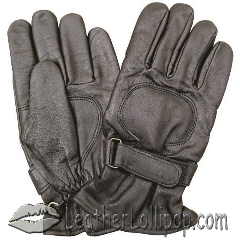 Lined Leather Riding Gloves with Velcro Tab - SKU LL-AL3063-AL