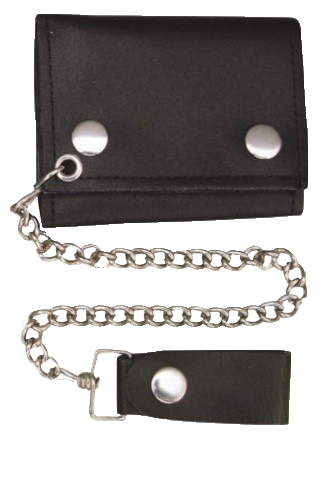 4 inch Black Leather Chain Wallet -Tri-fold - SKU LL-AL3200-AL