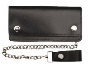 6 inch Black Leather Chain Wallet - Bifold -SKU LL-AL3201-AL