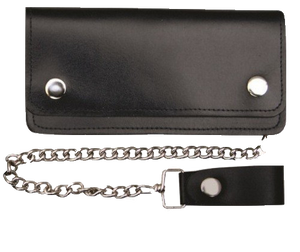 8 inch Black Leather Chain Wallet - Bifold -SKU LL-AL3202-AL