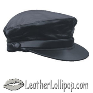 Leather Cap with Leather Band Design - SKU LL-AL3224-AL - Leather Lollipop