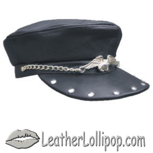 Leather Cap with Chain, Eagle and Studs - SKU LL-AL3229-AL - Leather Lollipop