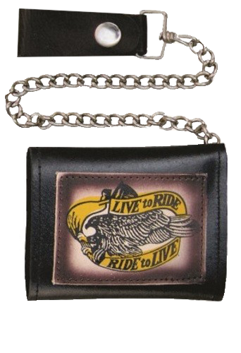 4 inch Black Leather Chain Wallet with Live To Ride - Tri-fold - SKU LL-AL3273-AL