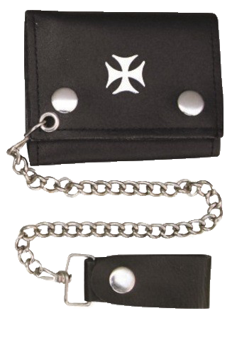 4 inch Black Leather Chain Wallet with Iron Cross - Tri-fold - SKU LL-AL3276-AL