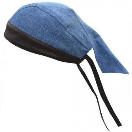 Blue Denim Skull Cap with Black Leather Trim - SKU LL-AL3398-AL