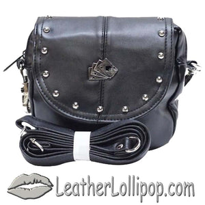 Ladies Studded PVC Bag with Playing Cards Design - Belt Bag - SKU LL-BAG20-DL